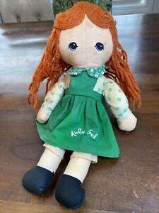 "Vintage 1970's Knickerbocker KELLY GIRL 13"" Plush Rag Doll! Holly Hobbie Pal HTF"