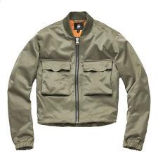G-Star Raw Vodan Womens Cropped Khaki Green Bomber Sz S Rib Collar Zip Up Jacket