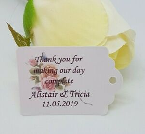 Personalised Small Gift Tags Wedding Favours/Christening Packs of 25 /50/100