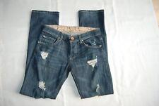 Blue Denim RICH & SKINNY Stretch Straight Leg Distressed Jeans 24