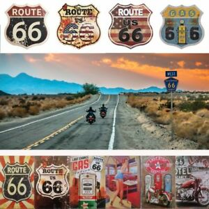 Route 66 retro metal plaque Harley motorcycle motorbike tin sign shield man cave