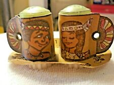 Vintage Salt and Pepper Shakers Native American Genuine Leather