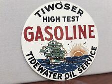 Tiwoser Hi Test gasoline Marine advertising sign oil gas round metal
