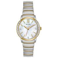 Bulova Women's Quartz Diamond Accent Markers Two-Tone 28mm Watch 98R231