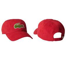 Lacoste hombre clásicos de gabardina de algodón Logotipo De Cocodrilo Grande Ajustable Gorra Gorro Rojo