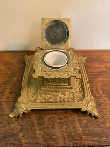Victorian Ornate Brass Inkwell