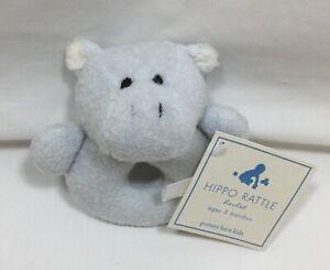 Pottery Barn Kids Set/2 Blue Critter Hippo Rattles Nursery