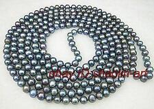 cadeau d'anniversaire ! 7mm la perle noire réel, long collier, 114cm
