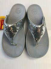 FitFlop Girls Silver Sequins Flip Flops