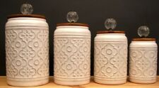 Elegant  White Ceramic W/ Glass Finial  Canister Set Flour- Sugar- Coffee- Tea