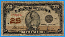 25 Cents 1923 Dominion of Canada Shinplaster Note DC-24c - Circulated