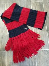 Abercrombie & Fitch Women Cable Knit Scarf Winter Knit Red Navy Long Chunky Warm