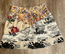 LEIFNOTES Anthropologie Sz 6 A-Line Skirt Flora Fortress Castle Novelty #179