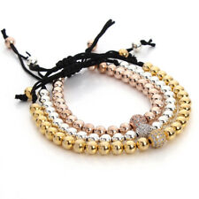 Luxury CZ Braided Bracelets 4mm Copper Beads Bangle Charm Jewelry for Men Woman