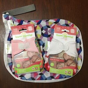 2 pc Bumgenius Littles 1.0 Newborn Carroll Diaper Outing Wet Bag Alicia Wetbag