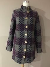 free people Plaid Multi Color Long Sweater  Light Coat Warm Wool Blend Sz. M