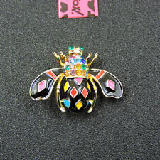 Inlaid Crystal Woman Brooch Pin Betsey Johnson Colorful Bee Rhinestone Charm