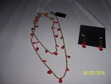 """2 Piece Set Cookie Lee Necklace & Earrings 20"""" Red Gold Lot #2 NWT"""