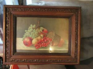 Antique Picture Frame W/ Fruit Still Life Art Print.