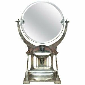 German Jugenstil Grand SilveredTable Vanity Mirror, Ca. 1900