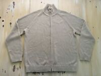 J CREW - Mens Beige Tan Zip-up Full Zipper Cotton/Acrylic Sweater Jacket, LARGE