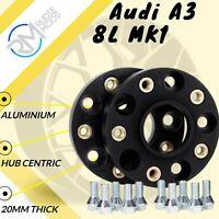 BLACK Audi A3 8L MK1 5x100 57.1 20mm ALLOY Hubcentric Wheel Spacers