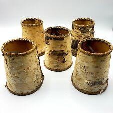 Lot of 5 Rustic Birch Bark Chandelier Lamp Shades