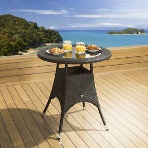 Luxury Garden Outdoor Round Dining Table Black Rattan 750mm Glass Top