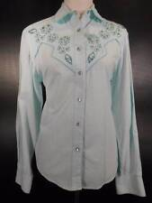 Beautiful Women's Medium Circle T Rough Rider Embroidered Beaded Floral Blouse