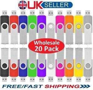 Bulk Wholesale 20 Pack 1/2/4/8/16/32GB USB2.0 Memory Stick Flash Thumb Pen Drive
