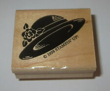 Fancy Hat Rubber Stamp Flower Stampin' Up! Retired 1998 Wood Mtd Easter Women