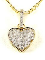 LOVELY 10K YELLOW GOLD CHAIN NECKLACE & PAVE CUBIC ZIRCONIA STONE HEART PENDANT