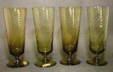4 Biergläser Ende 19. Jh. - olivgrünes schrägoptisch mundgeblasenes Glas.