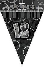 12ft Foil Glitz Black 18th Birthday Bunting Flags