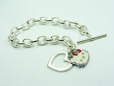 GIRL Silver plated HELLO KITTY Smooth HEART w/ Toggle CLASP Link CHAIN BRACELET