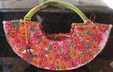 Mexican Huipil Beaded Designer Purse Pink Flora Gabriela Vargas Michoacan Mexico