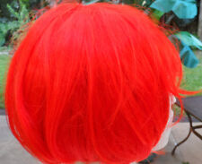 New Unisex Short Straight Cartoon Red Bobbed Wig w/Bangs, Adjustable Inner Strap