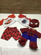 BUILD-A-BEAR lot 2 Piece Pajamas PJs Spiderman & Cars and Spiderman costume