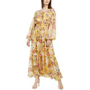 INC Womens Floral Print Smocked Waist Work Wear Peasant Dress BHFO 7231