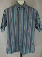 Brittany Bay Mens Blue Striped Short Sleeve Button Down Casual Shirt Size Large