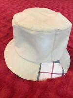 Burberry London Bucket Hat Size Small Unisex Tan Plaid Patch Gently Used