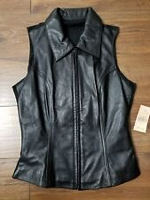 Womens Wilson Maxima Leather Vest Jacket Black 100% Leather Size 8