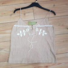 Ladies Max Studio Top Size L Brown Floral Embroidered Strappy Linen Front Tied