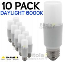 NEW 10 x MERCATOR 10W LED TUBULAR GLOBE E27 SCREW IN - DAYLIGHT 6000K PACK LAMP
