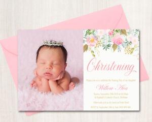 Printable Girls Baptism /Christening / Naming Day Invitation Floral, Pink & Gold