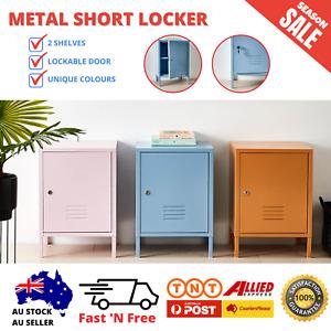 Locker Cabinet Files Metal Storage Home Office 2 Shelves With Lockable Door