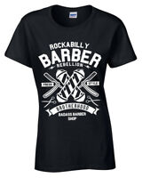 Rockabilly Barber T-Shirt Womens S-2XL Shop Hipster Beard Tee Fresh Style ladies