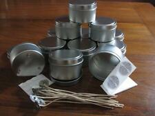 12 x Travel Tins170gm Soy Wax Candle Making Supplies + Wicks, Stickums, Warning