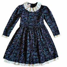 Vintage 80s 90s Girls dress Cordorouy Floral Lace Victorian 7 8 10
