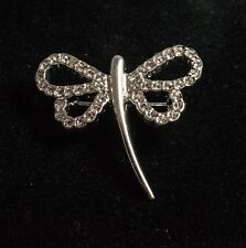 Silver Tone and Diamante Dragonfly Style Brooch